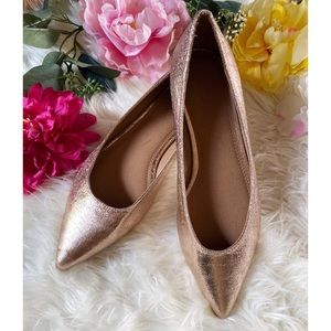 ASOS Rose Metallic Gold Pointy Toes Ballet Flats
